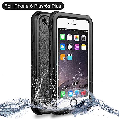 NewTsie iPhone 6/6s Plus Wasserdicht Stoßfest Hülle, IP68 Zertifiziert Schutzhülle Staubdicht mit Eingebautem Displayschutzfolie für iPhone 6/6s Plus 5.5 inch (B-Schwarz)