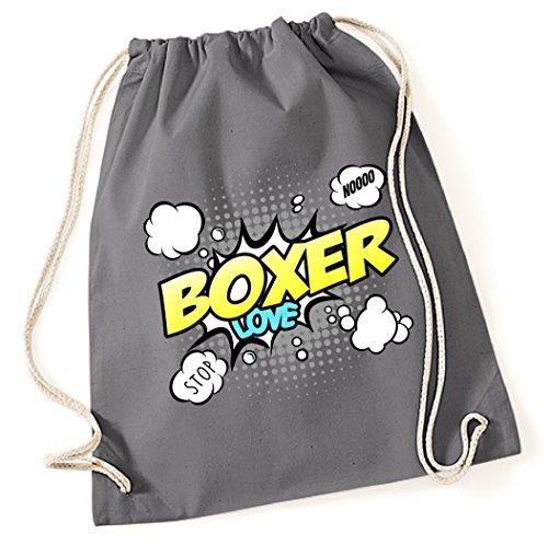 Boxer-comics (Turnbeutel - BOXER deutscher Diensthunderasse - COMIC Cartoon Baumwoll Tasche Fun Siviwonder)