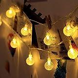 30er LEDs Lichterkette, 3 Meter 2 Modi Kristallkugel Batteriebetrieben Lichterketten (Warmweiß)