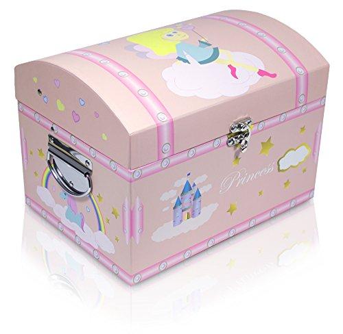 Rosa Schatzkiste mit Einhorn für kleine und große Prinzessinnen - Groß - Box, Schatztruhe, Kiste für Geburtstag, Hochzeit und Mottoparty