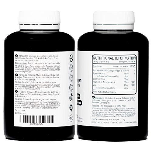 Colágeno Marino con Ácido Hialurónico,  Coenzima Q10,  Vitamina C y Zinc | 180 cápsulas (Suministro para 3 meses) | Péptidos que mantienen articulaciones,  cartílagos,  huesos,  piel,  cabello y uñas sanos