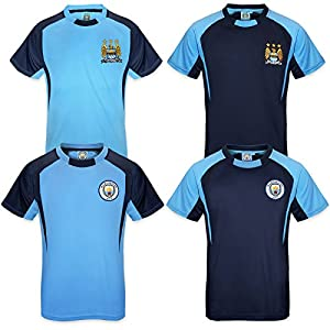 Manchester City FC Official Football Gift Boys Poly Training Kit T-Shirt