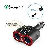 QC3.0 Smart Car Charger, 2 Socket + 3 USB ( 2xSmart USB Port & 1xQC3.0 USB Port) Multifunction Car Socket Splitter Adapter Built-in 10A Fuse for Smart Phones, Tablets, GPS, MP3 Players