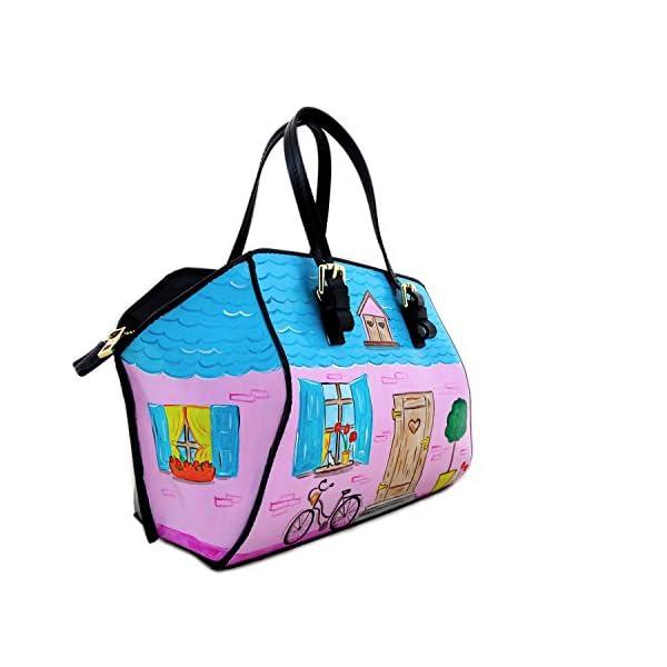 Hand-painted genuine leather shoulder bag – HOME SWEET HOME BON TON - Women Bag, Hand Bag, Genuine Leather, Made in Italy, Painted Leather, Handbag and Shoulder Bag, Craftsmanship - handmade-bags