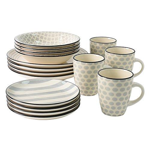 ProCook Salcombe | Tafelservice | Steinzeug | verschiedene Muster | 16-teilig | grau