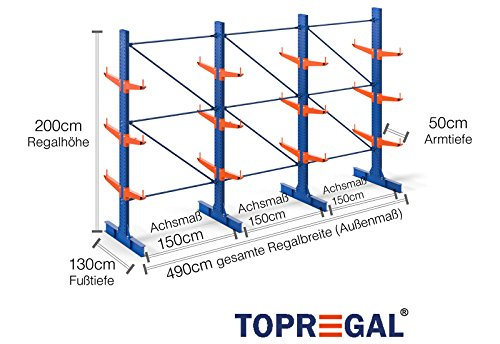 4,9m Kragarmregal doppelseitig, 200cm hoch, 50cm tief, 3 Kragarmebenen - Langgutregal Schwerlastregal