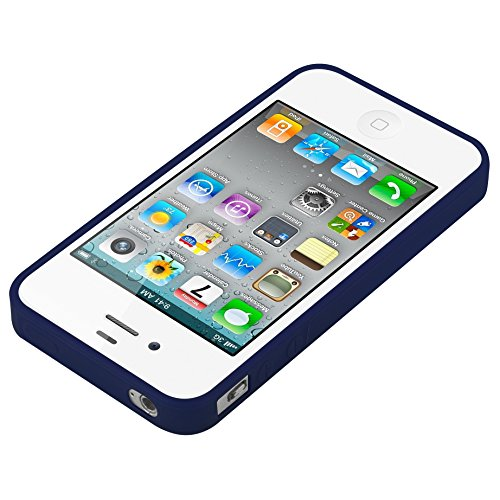 Cadorabo - TPU Ultra Slim Candy Silikon Hülle Case Cover Schutz-Hülle für >              Apple iPhone 4 / 4S              < in CANDY-DUNKEL-BLAU CANDY-DUNKEL-BLAU