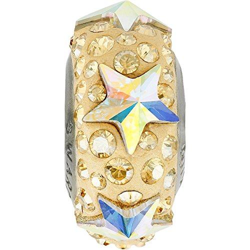 Swarovski Großlochperlen | European Beads | Glasperlen Elements BeCharmed Pave 13.5mm (Crystal-AB/Crystal-Golden Shadow, Edelstahl), Restposten, 1 Stück