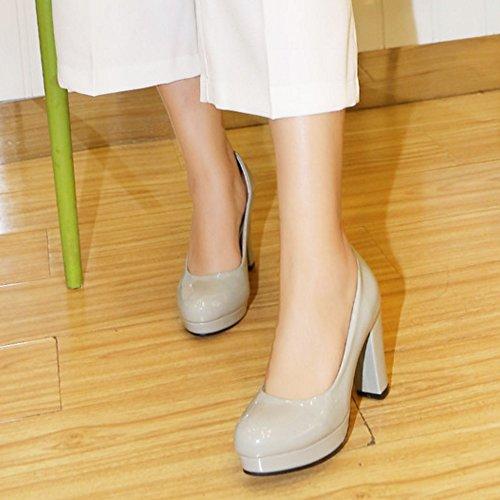TAOFFEN Femme Classique Bout Ferme Rond Chaussures Bas A Enfiler Bloc Chaussures Talons Hauts Gris