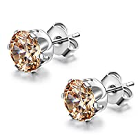 Flongo 7mm Round Champagne Cubic Zirconia Stainless Steel Stud Earrings, 1 Pair