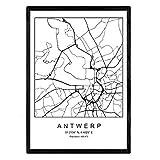 Nacnic Blatt Antwerpen Stadtplan nordischen Stil schwarz