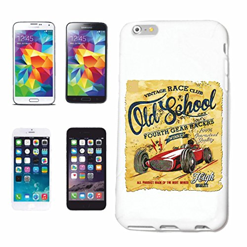Handyhülle Samsung Galaxy S6 VINTAGE RACE CLUB RENNWAGEN OLD SCHOOL FORMEL 1 HOT ROD US CAR MUCLE CAR V8 ROUTE 66 USA AMERIKA Hardcase Schutzhülle Handycover Smart Cover für Samsung Galaxy S6 in Weiß - Club-formel Sams