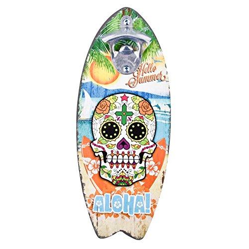 nöffner Surfbrett Santa Muerte Design MDF 30x12x4cm Bunt (Design 2) ()