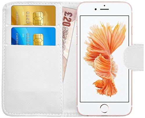 iPhone 6 Plus / 6S Plus Hülle Leder Klapphülle mit Kartenfach GizzmoHeaven Schutzhülle Tasche Flip Case Cover Etui Handyhülle für Apple iPhone 6 Plus / 6S Plus mit Displayschutzfolie und Stylus-Stift  Weiß