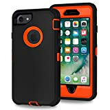Xylo® Dual Protect Heavy Duty Dust/Shock Proof Case Cover For Apple iPhone 8, 7, 6S & 6 With Built In Screen Protector - Black & Neon Orange