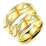 Adisaer Trauringe Edelstahl Freundschaftsring Gold Silber Ring Oval Form Blätter Zirkonia Herrenring Größe 60 (19.1) Damenring Größe 57 (18.1) Hochzeit