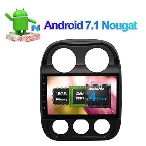10,1 Zoll IPS Bildschirm 2GB RAM Android 7.1 Autoradio Stereo Multimedia Player für Jeep Compass Commander Patriot 2007- mit Bluetooth GPS Navigation Unterstützung FM AM RDS WLAN 4G Kamera Eingang -