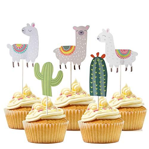 JINMURY 20 Stück süßer Niedliches Alpaka und Kaktus Themed Tier Kuchendeckel Topper für Kinder Baby Party Geburtstag Party Kuchen Dekoration Supplies