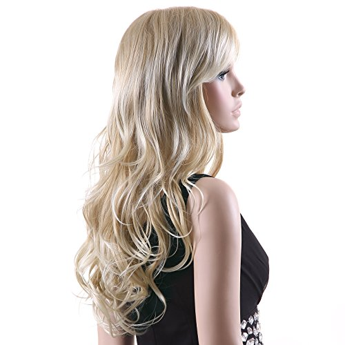 e Blond stilvoll schick gelockt Lang Haar Wigs für Karneval Cosplay Halloween WFF046 ()