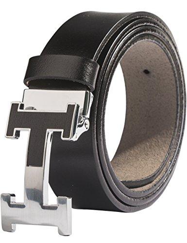 Menschwear Herren Echtes Büffel Leder Gürtel mit Schlupf Schnalle Jeans Hose Gürtel Voellig verstellbar Schwarz 105cm (Denim-schlupf)