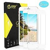 CRXOOX [2 Unidades Cristal Templado Protector de Pantalla para iPhone 7 Plus/ 8 Plus, Alta Sensibilidad, Sin Burbujas,9H Dureza Cristal Vidrio Templado (Blanco)