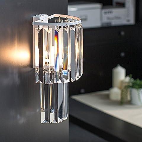 Verre en cristal Applique murale chambre lampes murale Salon Appliques blanc transparent, E14× 1,20* 38* 13cm