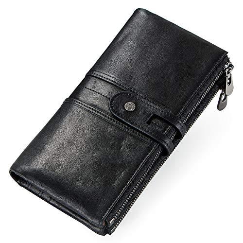 Echtes Leder Brieftasche Id Brieftasche (Contacts Frauen Echtes Leder ID Karte Telefon Halter Reißverschluss Kupplung Geldbörse Brieftasche (Schwarz))