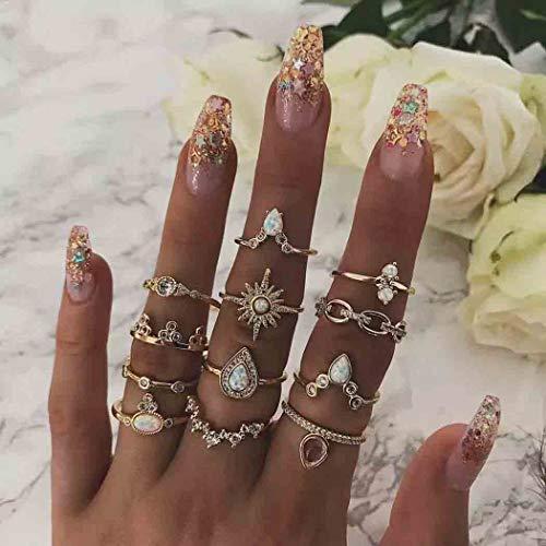 Simsly Vintage-Knöchelring Edelstein Goldfarben Kristall Ring-Set mit Kristall für Damen und Mädchen (12 Stück)