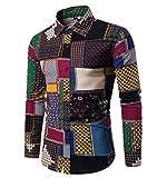 CHENGYANG Herren Slim Fit Freizeit Hemd Langarm Blumen Drucken Shirts Top Blouse Hemden (Style#8, 3XL)