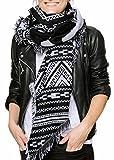Feinzwirn Leira - großes Schultertuch Schal/Tuch mit trendigem Farb-/Mustermix (schwarz-Weiss-Ethno)