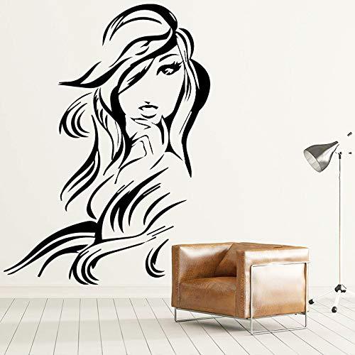 Bfmbch adesivo murale bella donna adesivo rimovibile per arredamento casa soggiorno camera da letto adesivi murali in vinile arte 58 cm x 78 cm