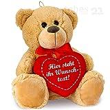 matches21 Teddybär mit Herz / Herzteddy ** individuell mit Wunschtext bedruckbar ** 25 cm Hellbraun - DIE Geschenkidee!