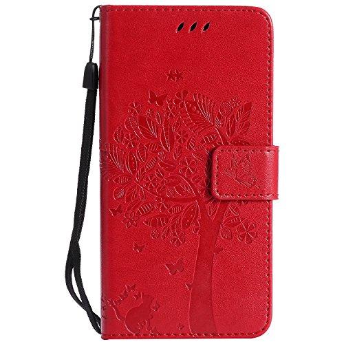 NEXCURIO Samsung Galaxy Xcover 4/G390F Hülle Leder, Handyhülle Tasche Leder Flip Case Brieftasche Etui mit Kartenfach Stoßfest Kratzfest Schutzhülle für Samsung Galaxy Xcover4 - EKTU103620 Rot