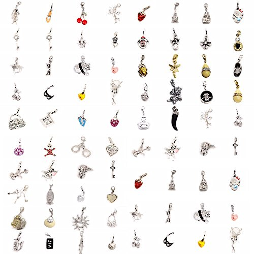 AKKi Glitzer Charm hänger mit karabina Verschluss 25stück Angebot Swarovski Kristalle Kugel weiß Anhänger Bunt Silber zubehör für Bettelarmbänder Armband Kette Ohrring Charms 25 stück