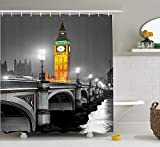 MSGDF London Shower Curtain, The Big Ben and The Westminster Bridge at Night in UK Street River European Look, Fabric Bathroom Decor Set with Hooks, 60 X 72inch, Grey Yellow