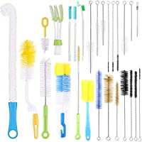 RAIN QUEEN 27 Pcs Bottle Cleaning Brush Set,Multipurpose Versatile Stainless Steel Brushes for Washing Bottle Cup Mug Straw Brewing Durable & Non-Scratch Bristles