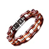 Ydq Titan Stahl Fahrrad Armband Brown Intarsien Diamant Motorrad Armband Hochglanzpoliert Männer/Frau 20 cm * 10Mm