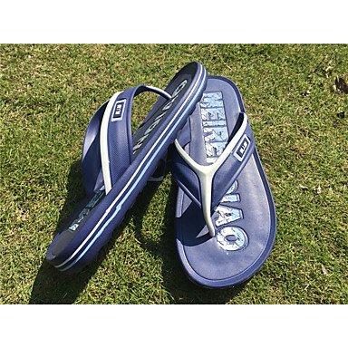 Slippers & amp da uomo;PU comfort Tulle primavera casuale blu grigio chiaro Nero Sandali piatti sandali US8 / EU40 / UK7 / CN41
