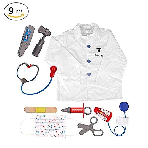 tor Rollenspiel Kostüm Ankleiden Set Ärzte Lab Coat mit Gesicht Maske Stethoskop Thermometer Medical Tools für Kinder (Lab Coat Kostüm Kind)