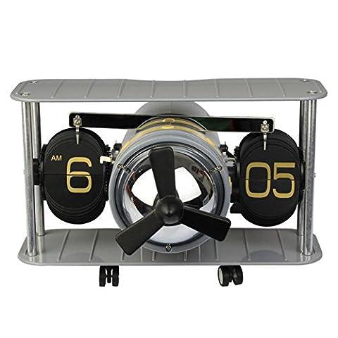 Flugzeug Getriebe Kopf Mode Retro-Auto Flip Clock Uhr die Wohnzimmer-Uhr , silver