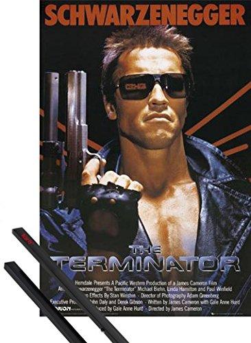 Poster + Hanger: Terminator Poster (91x61 cm) Filmplakat, Arnold Schwarzenegger Inklusive Ein Paar 1art1® Posterleisten, Schwarz