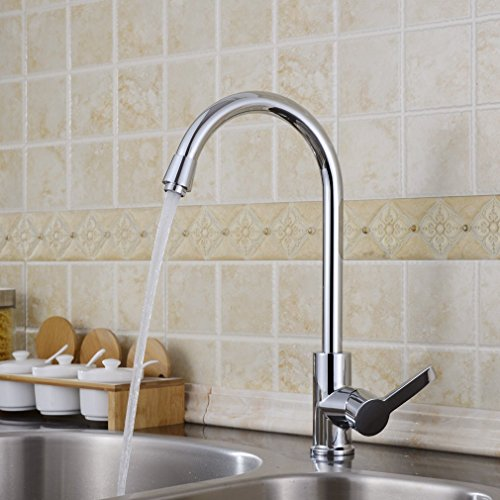 Auralum® Grifo de fregadero de cocina Rotación de 360 ° grifo mezclador para cocina - plata