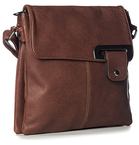Big Handbag Shop - Borsa a tracolla donna (Marrone scuro)