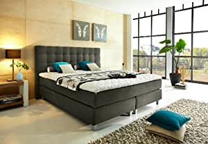 luxus boxspringbett 180x200 h rtegrad h2h3 in grau ber 1000 federn. Black Bedroom Furniture Sets. Home Design Ideas