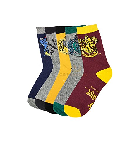 Set-of-5-Harry-Potter-themed-socks-with-house-crest-Cinereplicas