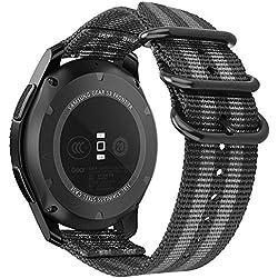 Fintie Correa para Galaxy Watch 46mm / Gear S3 - 22mm Pulsera de Repuesto de Nylon Tejido Banda Ajustable con Hebilla de Metal para Samsung Gear S3 Classic / Gear S3 Frontier Smartwatch Reloj, Rayas Negras y Grises