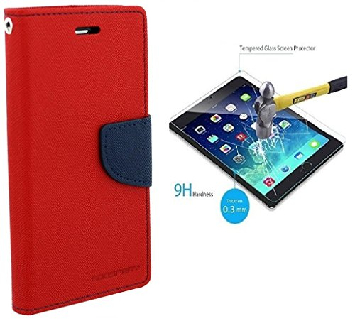 SAMSUNG GALAXY G350/CORE PLUS Flip Cover Mercury Back Case (Red) With Temper Glass Screen Protector By Efinetrick  available at amazon for Rs.329