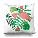 VVIANS Decorativepillows Case Throw Pillows Covers for Couch/Bed 18 x 18 inch,Tropical Clipart Cute Flamingo Butterflies Glasses Plants Palm Leaves Home Sofa Cushion Cover Pillowcase Gift
