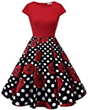 HomRain Damen 50s Retro Vintage Cocktail Rockabilly Swing Party Basic Kleid Red-Black White Rose S