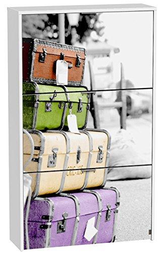 Commode à chaussures de 3 portes laqué blanc motif valises d'époque, 750 x 242 x 1268 mm -PEGANE-